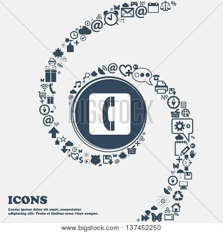 Handset Icon Sign In The Center. Around The Many Beautiful Symbols Twisted In A Spiral. You Can Use