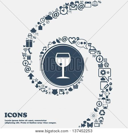Glass Of Wine Icon Sign In The Center. Around The Many Beautiful Symbols Twisted In A Spiral. You Ca