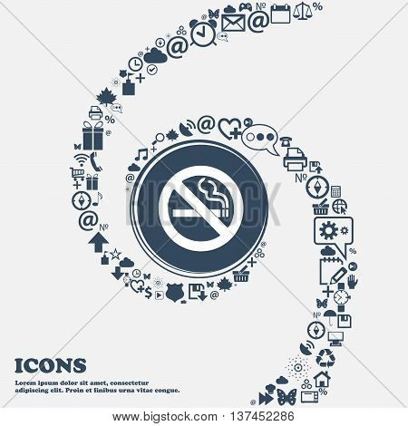 No Smoking Icon Sign In The Center. Around The Many Beautiful Symbols Twisted In A Spiral. You Can U