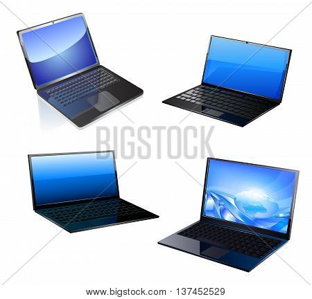 Lap top icon. Vector illustration on white background.