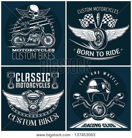 Motorcycle detailed emblem set with descriptions of custom bikes born to ride classic motocycles and racing club vector illustration