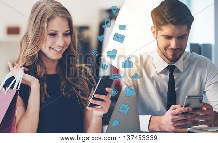 I have bought that beautiful dress! Montage of two images with men and woman looking at their smart phones and smiling while being in different places
