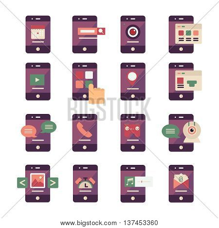 Mobile application icons with signs of menu calendar search music chat on screen phone isolated vector illustration