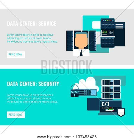 Datacenter horizontal flat banners with service system security of cloud storage and servers isolated vector illustration