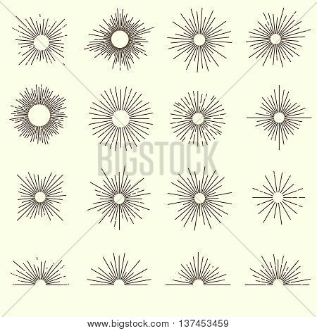 Sunburst monochrome design collection with rounds of different size short and long rays semicircles isolated vector illustration
