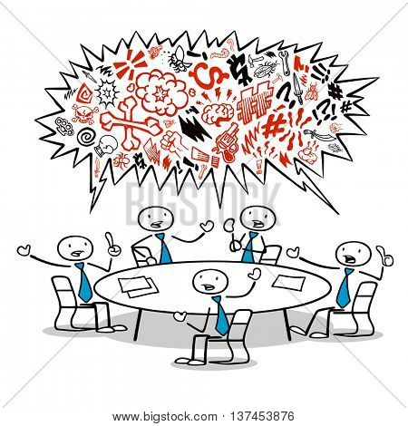 Many cartoon business team cursing and ranting in a meeting