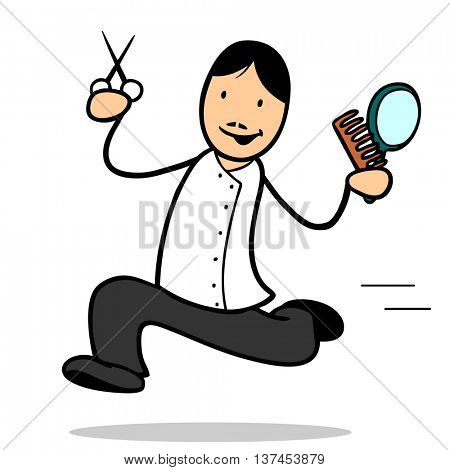 Running cartoon hairdresser with scissors and mirror