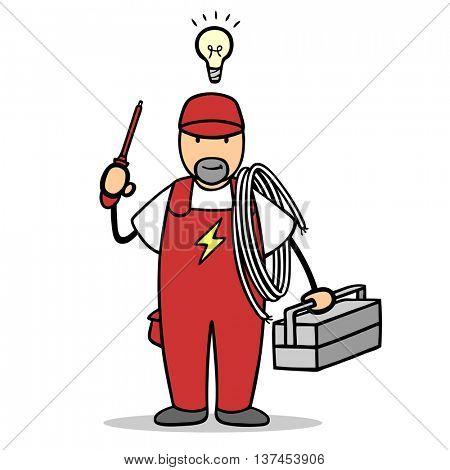 Cartoon man as electrician with light bulb over his head