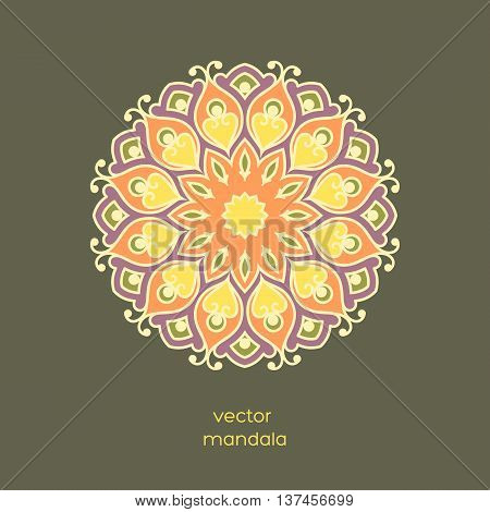 Ornamental colorful floral mandala on dark color background. Stylish geometric pattern in oriental style. Indian asian arabic islamic ottoman moroccan motif. Vector illustration.