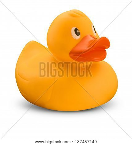 Rubber yellow duck with orange beak on white with shadow