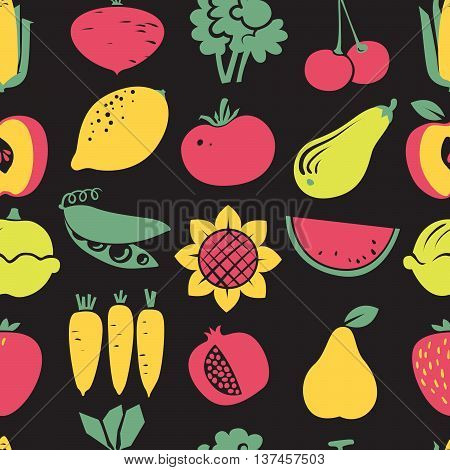 Cute vector fruits and vegetables seamless pattern