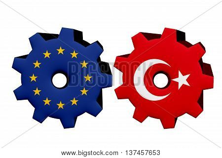 The European Union and Turkey working together Two cogwheels with a flag of the European Union and Turkey isolated on white, 3D Illustration