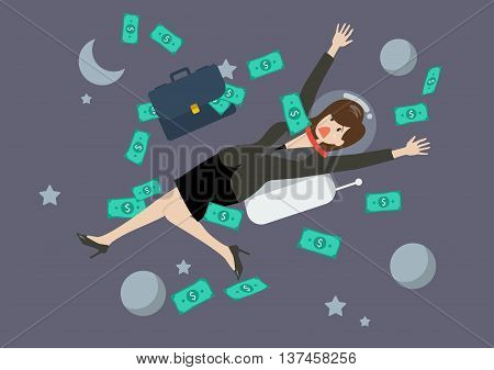 Greedy business woman floating in the space. Business concept
