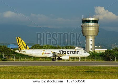 Kota Kinabalu,Sabah-June 29,2016:The Tigerair Airbus A320 landed at Kota Kinabalu International Airport.Tiger Airways Singapore operating as Tigerair,is a budget airline headquartered in Singapore.