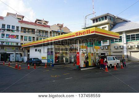 Sandakan,Sabah-Dec 28,2015:Shell gas station in Sandakan town,Sabah Borneo on 28th December 2015 at Sandakan,Sabah,Borneo,Malaysia.