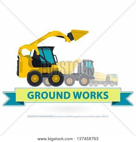 Construction machinery yellow set. Ground works with sign. Machine vehicles, excavator.