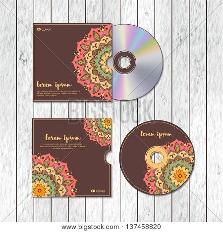 CD cover design template with floral mandala style on the wood texture background. Arabic indian pakistan asian motif. Vector illustration under clipping mask.
