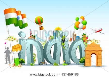 illustration of tricolor balloon with Indian flag and monument