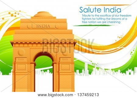 illustration of India gate on abstract flag tricolor background for Republic Day and Independence Day celebration