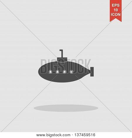 Submarine Icon. Flat Design Style.