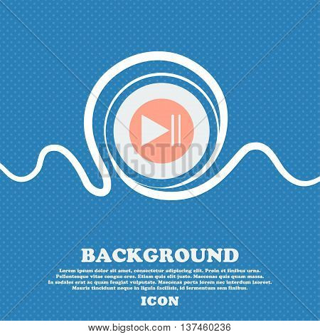 Play Button Icon. Blue And White Abstract Background Flecked With Space For Text And Your Design. Ve