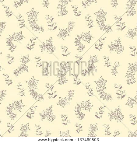 Vector cute doodle minimalistic floral seamless pattern
