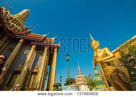 Royal Grand Palace Wat Pra Kaew With Blue Sky In Bangkok