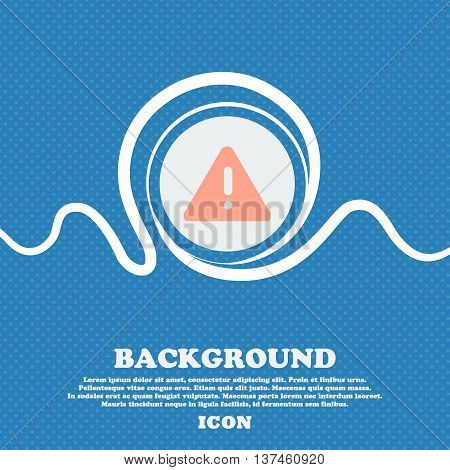 Exclamation Mark, Attention Caution Icon Sign. Blue And White Abstract Background Flecked With Space