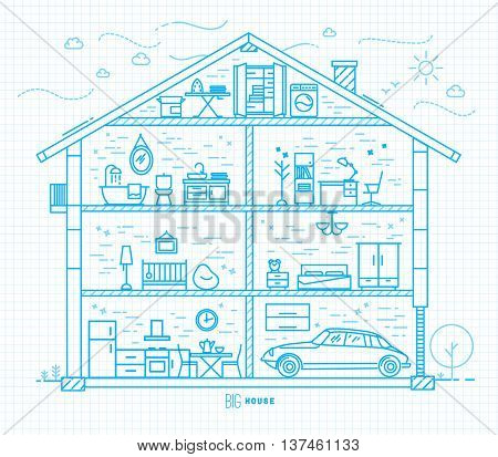 Big house silhouette with rooms furnishings in flat style drawing with light blue lines on squared paper sheet background