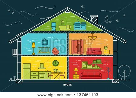 House silhouette with rooms furnishings in flat style drawing with color lines on dark blue background