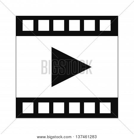 simple flat design film strip with play symbol icon vector illustration