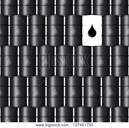 Metal Black Oil Barrels Vector Seamless Background