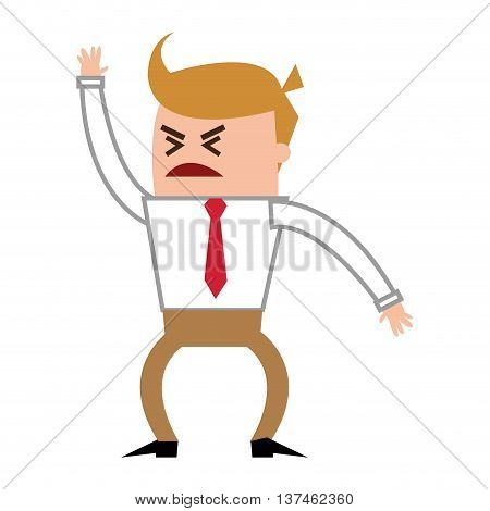 flat design angry businessman yelling icon vector illustration