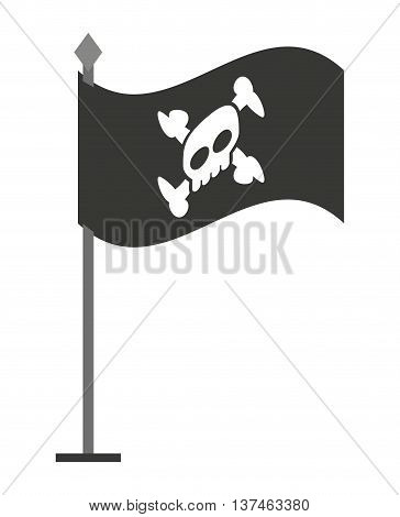 alert skull in flag  isolated icon design, vector illustration  graphic