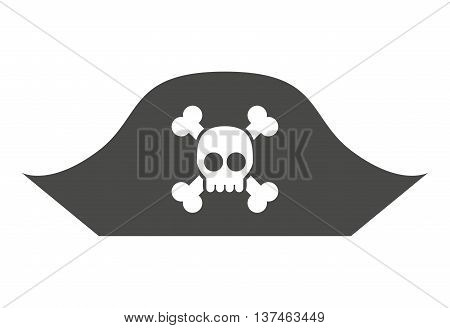 alert skull in hat pirate  isolated icon design, vector illustration  graphic