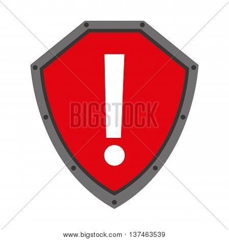 security shield with alert symbol isolated icon design, vector illustration  graphic