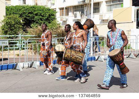 Nahariya Israel March 21 2014: Representatives of the African music at the traditional annual parade in Nahariya Israel