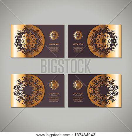 Set of four golden floral ornamental cards with oriental mandala on dark vinous background. Business invitation card template. Indian asian arabic islamic ottoman motif. Vector illustration.