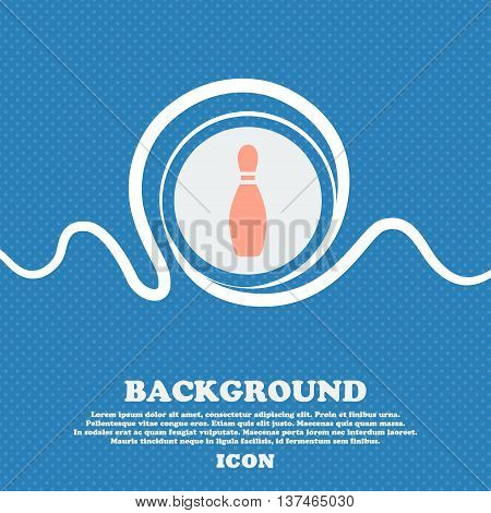 Pin Bowling Icon Sign. Blue And White Abstract Background Flecked With Space For Text And Your Desig