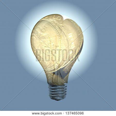 Britsh Pound coins in bright shiny lightbulb