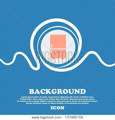 Refrigerator Icon Sign. Blue And White Abstract Background Flecked With Space For Text And Your Desi