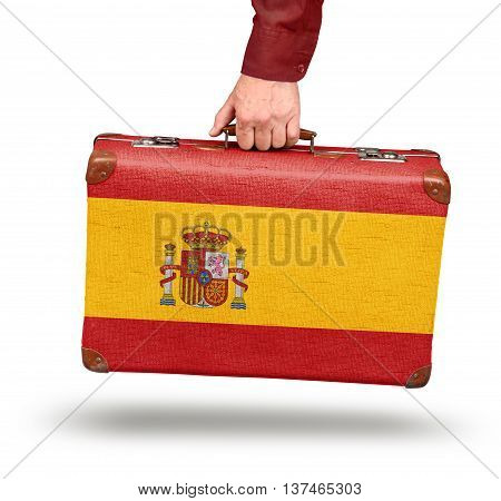 Vintage Spanish flag suitcase isolated on white travel to Spain concept