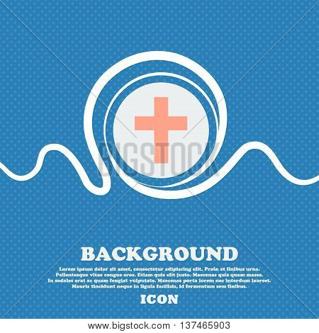 Religious Cross, Christian Icon Sign. Blue And White Abstract Background Flecked With Space For Text