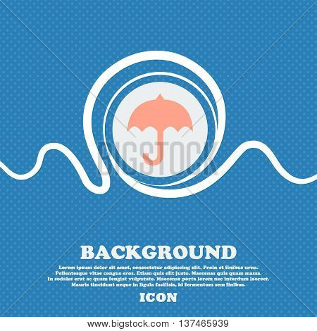 Umbrella Icon Sign. Blue And White Abstract Background Flecked With Space For Text And Your Design.