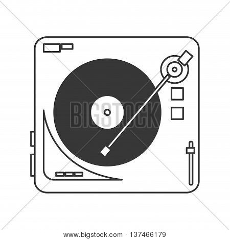 flat design vinyl record player icon vector illustration