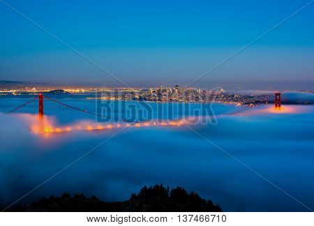 San Francisco and Golden Gate Bridge on a foggy night