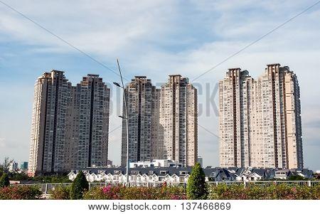 SAI GON, VIET NAM, April 14, 2016 many high-rise buildings, apartment buildings. East of Sai Gon, Vietnam