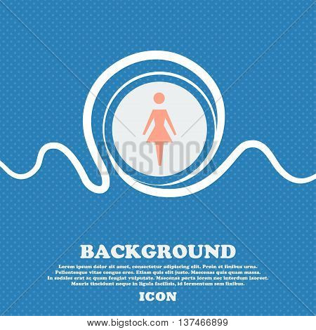 Female Sign Icon. Woman Human Symbol. Women Toilet. Blue And White Abstract Background Flecked With