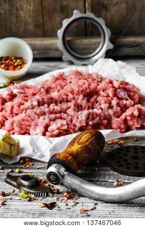 Meat Ground In Meat Grinder