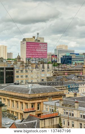 GLASGOW SCOTLAND - JULY 05 2016: Rooftops of buildings in the city centre Glasgow